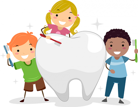Children with tooth illustration for children's dentistry in Lilburn, GA